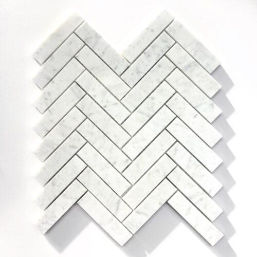 CARRARA HERRINGBONE Marble Mosaics