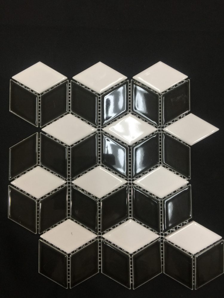Rubix Diamond Pattern Mosaic Tiles | B;lack & White Gloss | Melbourne | Essendon | Sunbury | Luscombe Tiles