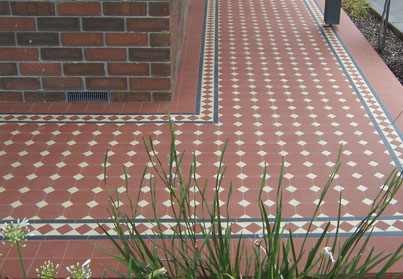 OXLEY PATTERN | Oxley Red With Ivory | Tessellated Tiles | Period Tiles | Melbourne | Essendon | Sunbury | Luscombe Tiles
