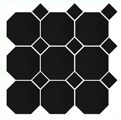 Octagon Dot Mosaics | Black Black | Floor Tiles | Period Tiles | Melbourne | Essendon | Sunbury | Luscombe Tiles