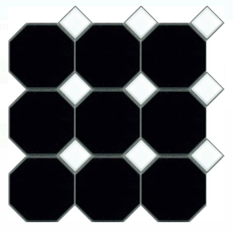Octagon Dot Mosaics | Black White | Floor Tiles | Period Tiles | Melbourne | Essendon | Sunbury | Luscombe Tiles