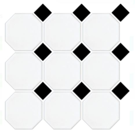 Octagon Dot Mosaics | White Black | Floor Tiles | Period Tiles | Melbourne | Essendon | Sunbury | Luscombe Tiles