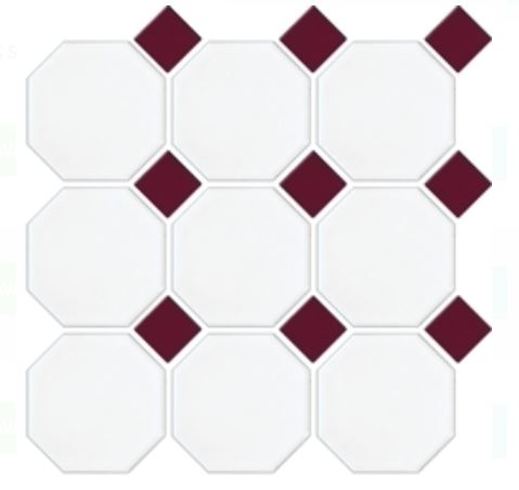 Octagon Dot Mosaics | White Burgundy | Floor Tiles | Period Tiles | Melbourne | Essendon | Sunbury | Luscombe Tiles