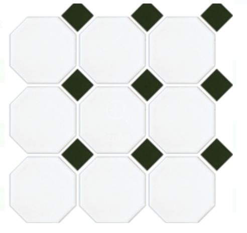 Octagon Dot Mosaics | White Green | Floor Tiles | Period Tiles | Melbourne | Essendon | Sunbury | Luscombe Tiles