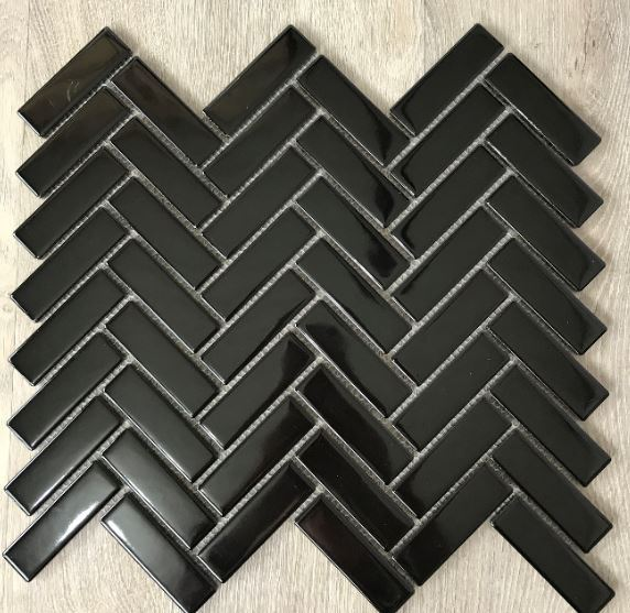 HERRINGBONE PORCELAIN MOSAICS | Black Gloss | Tiles Melbourne | Sunbury | Essendon | Luscombe Tiles