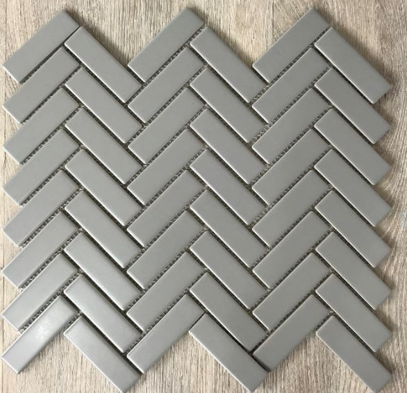 HERRINGBONE PORCELAIN MOSAICS | Grey Matt | Tiles Melbourne | Sunbury | Essendon | Luscombe Tiles