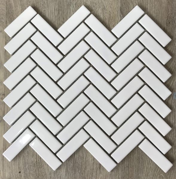 HERRINGBONE PORCELAIN MOSAICS | White Gloss | Tiles Melbourne | Sunbury | Essendon | Luscombe Tiles
