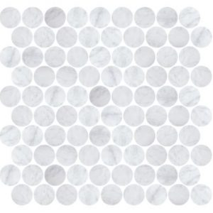 STONE PENNY ROUNDS MOSAICS | Carrara | Italian - Honed Finish | Sunbury | Essendon | Melbourne | Luscombe Tiles