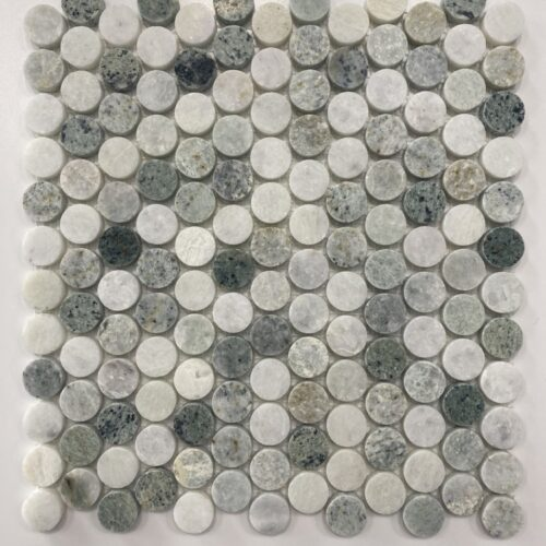 ARTEMIS MING GREEN PENNY ROUND MARBLE MOSAIC